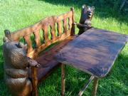 Продаёт скамья резная с медведями и стол(сосна, липа)